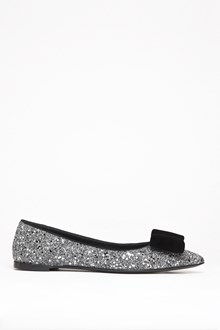 GIUSEPPE ZANOTTI DESIGN Glittered ballet flat with suede bow