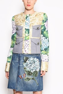 DOLCE & GABBANA 'Hydrangea' brocade jacket with jewel buttons