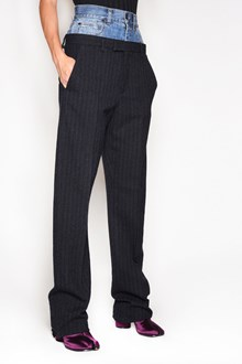 MAISON MARGIELA Double waist trousers with jeans + striped trousers