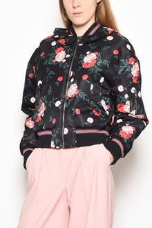 VIVETTA 'Caims' zipped bomber jacket with 'Flowers' print and application on the collar
