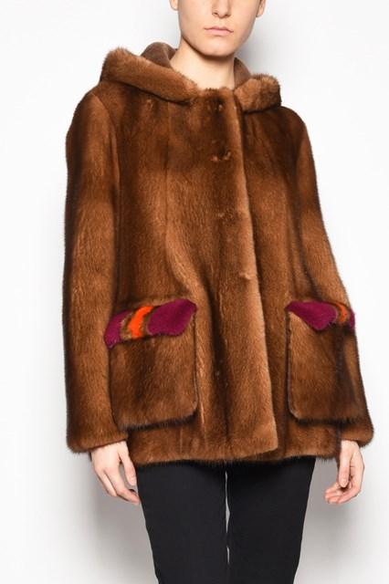 BLANCHA Mink fur with hood and  detachable pockets