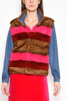 SIMONETTA RAVIZZA 'Jean' mink fur jacket with denim sleeves, reversible