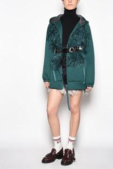 N°21 Long hooded sweatshirt with belt and plumage