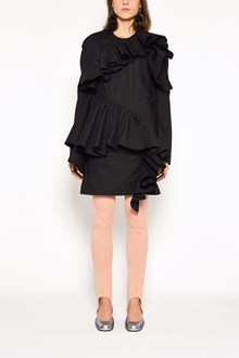 MARNI Crew-neck zipped dress with ruffles