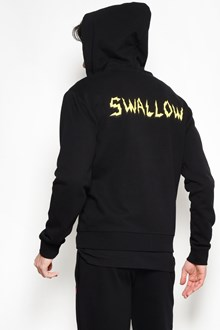 McQ ALEXANDER McQUEEN Cotton zipper hoodie with yellow 'swallow' print on the back