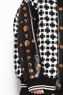 FAUSTO PUGLISI Leather studs and applications bomber jacket