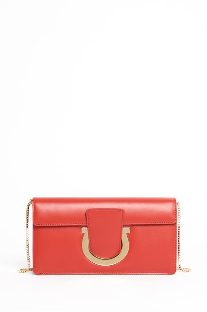 SALVATORE FERRAGAMO 'Thalia' leather clutch with front colsure and gold accents