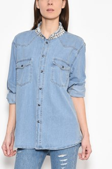 FORTE COUTURE 'Honor' denim button up shirt with pearl collar