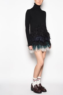 N°21 Turtle-neck dress with plumage