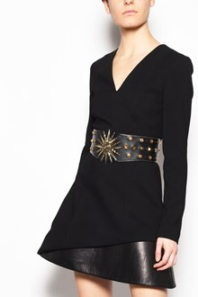 FAUSTO PUGLISI Viscose mini dress and leather detail