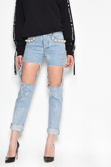 FORTE COUTURE Boyslim 'Big Heroes' destroyed jeans with pearl pockets