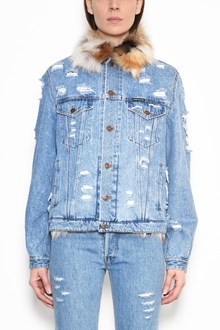 FORTE COUTURE Destroyed jean jacket with fur