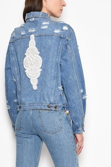 FORTE COUTURE Denim Jacket with embroidery on the back and destroyed look