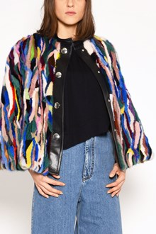 MARNI Multicolor mink cape with buttons