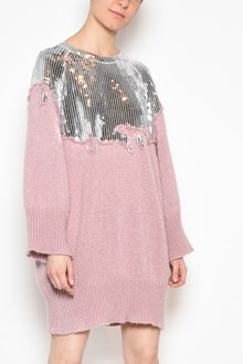 AVIU' Long crew-neck sweater with sequinned detail on front