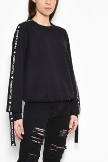 FORTE COUTURE Cotton crewneck sweater with logo print on sides