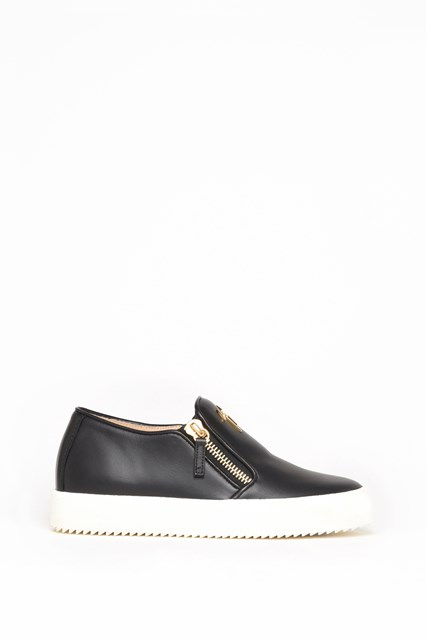 GIUSEPPE ZANOTTI DESIGN Leather slip on with double zipper and logo