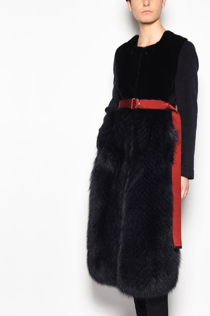 BLANCHA Long mink-fox-alpaca fur coat with waist belt