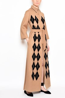 ATTICO Coat dress with velvet rhombus embroidered pearls