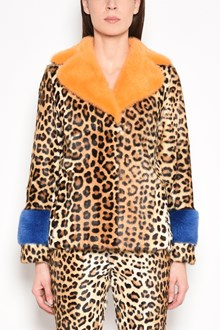 SIMONETTA RAVIZZA 'Kio' mink fur with leopard print and multicolor details