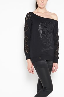 PHILIPP PLEIN Black stretch cotton featuring Swarovski crystal embellishments, embroidered skull and long sleeves with a lace panels