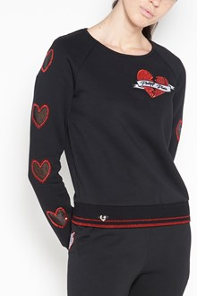 PHILIPP PLEIN Sweatshirt with hearts and frontal patch  sweatshirt