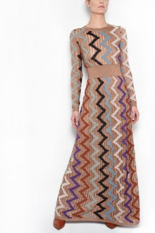 MISSONI 'Zig zag' printed crew-neck long dress with long sleeves