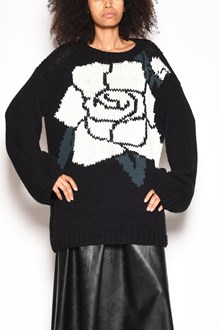 MM6 BY MAISON MARGIELA Wool crewneck oversize sweater with contrasting frontal rose