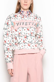 VIVETTA Flowers and logo printed 'Arles' sweatshirt with 'Hands' collar embroidery