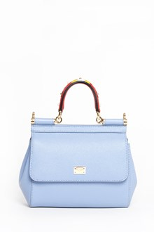 DOLCE & GABBANA 'Sicily' leather medium hand bag with multicolor studded handle