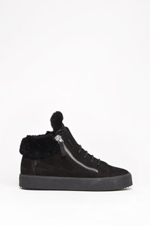 GIUSEPPE ZANOTTI DESIGN Leather zipped sneaker with mutton fur inside