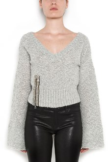 AVIU' v-neck short pullover with Jewel zip  detail in the  lower side