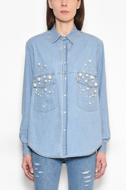 FORTE COUTURE Denim button-up shirt with pearl embellishments and collar