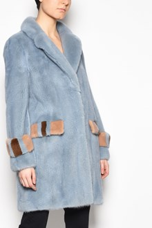 BLANCHA Mink fur  coat with coloured pockets and coloured fur details on sleeves