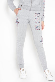 PHILIPP PLEIN Grey cotton blend crystal embellished track pants