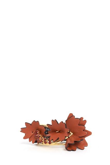MARNI Leather bracelet with flower and Swarovski