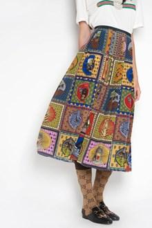 GUCCI 'tiger cards' silk skirt