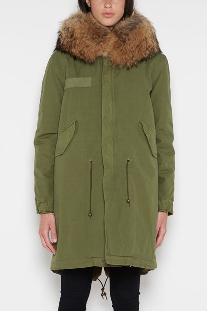 MR & MRS ITALY Army' long parka,natural lapin lining,hood with Murmasky