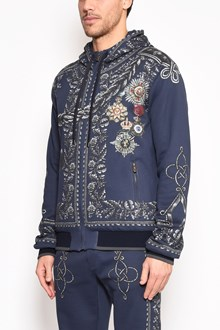 DOLCE & GABBANA 'Alamaio and medals' printed hooded zipped sweatshirt