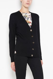 TORY BURCH 'Madeline' wool cardigan with logo buttons
