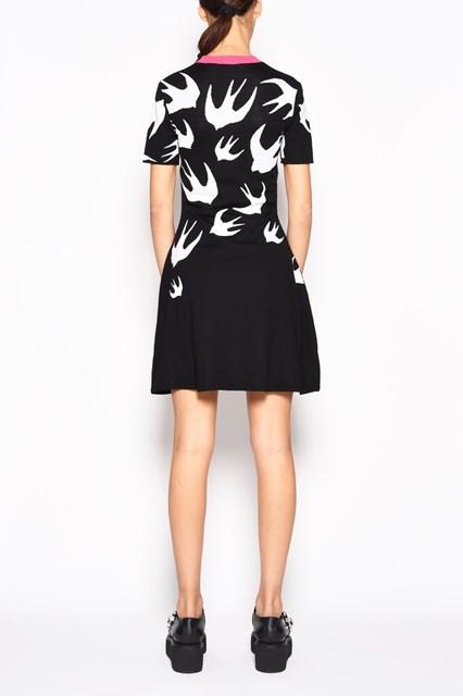 McQ ALEXANDER McQUEEN 1/2 sleeve jacquard 'Swallow' dress