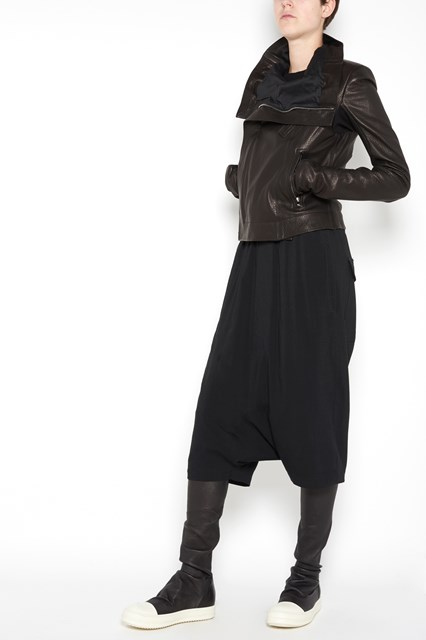 RICK OWENS classic biker lamb leather jacket with zip closure