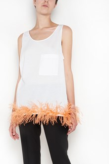 PRADA sleeveless top with ostrich feathers