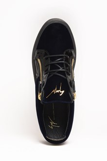 GIUSEPPE ZANOTTI DESIGN 'Veronica Nacy' suede sneaker with side zip and patent leather details