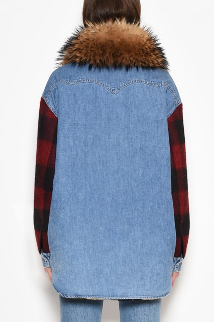 FORTE COUTURE Denim timber Jacket with fur collar