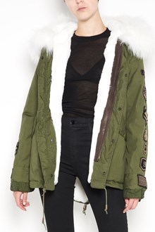 AS65 Short slim parka  with velvet patch ans lapin white fur