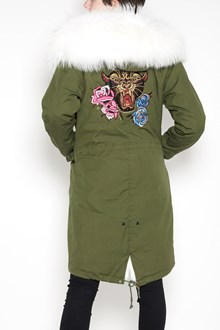 AS65 Long slim parka with 'phanter' embroidery on back and lined with white lapin