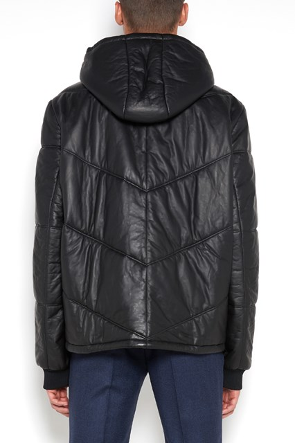 PRADA leather 'Nappa padded' bomber with zip and hood