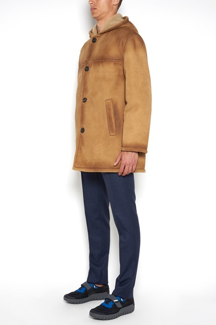 PRADA 'Montone old' long coat with buttons closure
