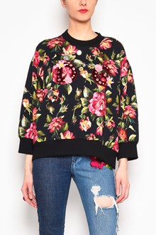 DOLCE & GABBANA 'Roses' all over printed sweatshirt with 'D&G' logo and applications